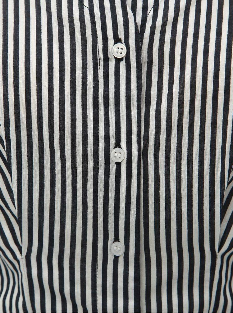 Bílo-černá vypasovaná halenka s véčkovým výstřihem VERO MODA Maji