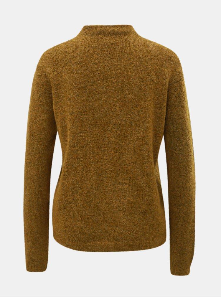 Hnedý sveter so stojačikom a prímesou vlny Jacqueline de Yong Roberta