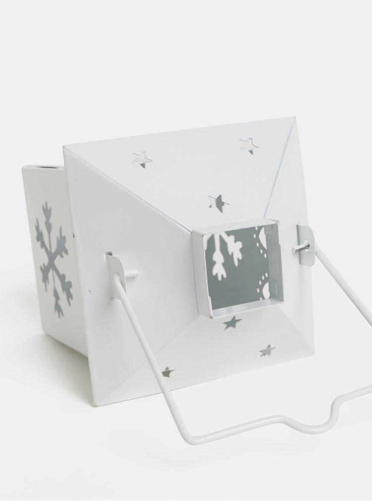 Biely lampáš s motívom vločiek Kaemingk
