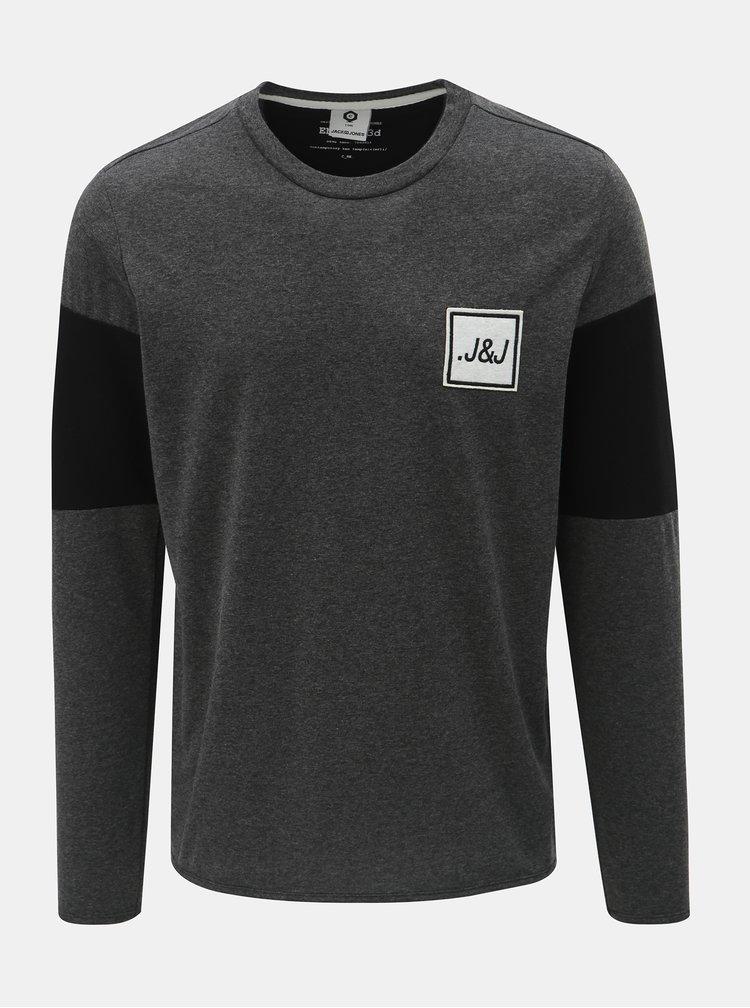 Tmavosivé regular tričko so zipsami na rukávoch Jack & Jones Band