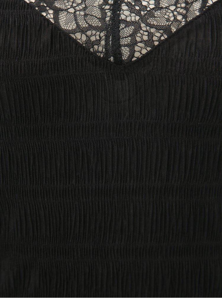 Čierny top s čipkovanými detailmi a pásikmi na chrbte Pieces Olivia