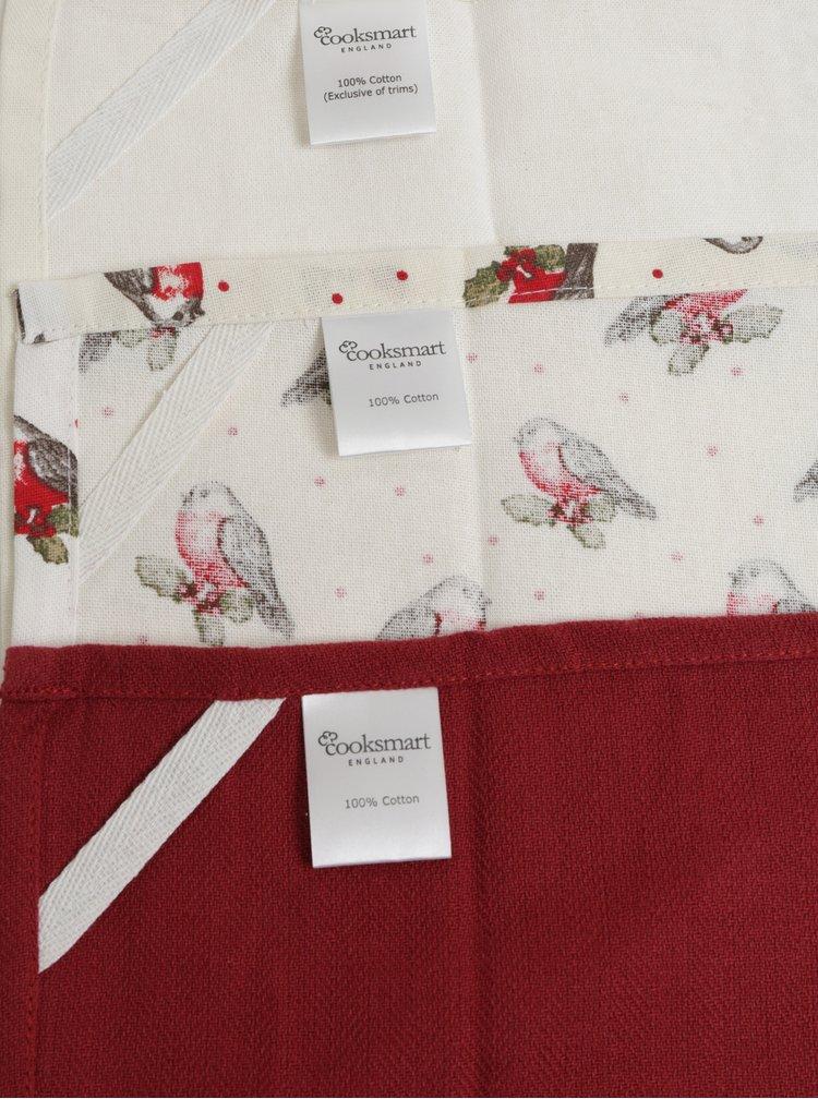 Sada tří vánočních utěrek v bílé a červené barvě Cooksmart Xmas