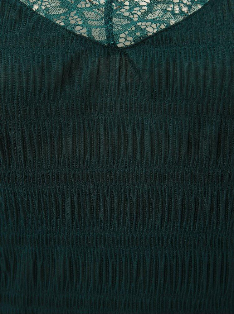 Top verde inchis cu detalii din dantela si barete la spate Pieces Olivia