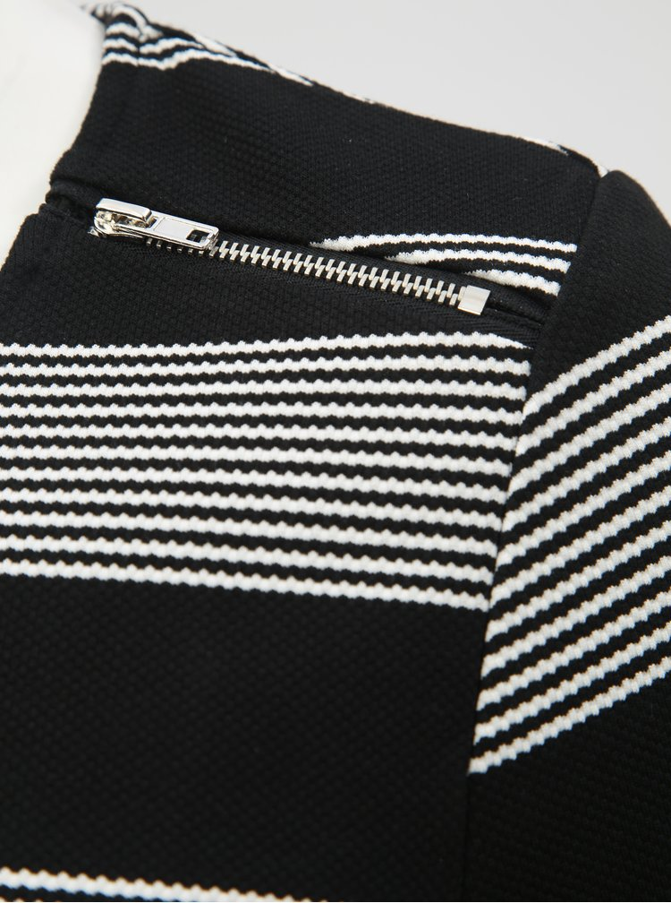 Čierne pruhované šaty s 3/4 rukávom La Lemon