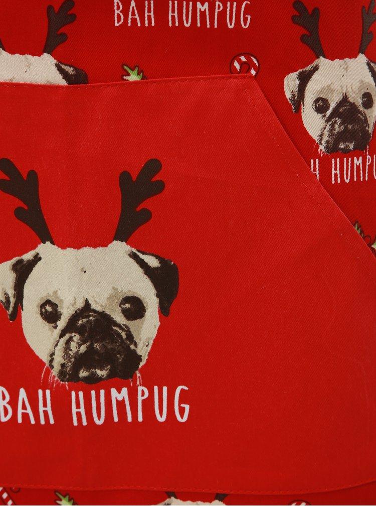 Červený set zástěry s chňapkou s vánočním motivem Cooksmart Xmas