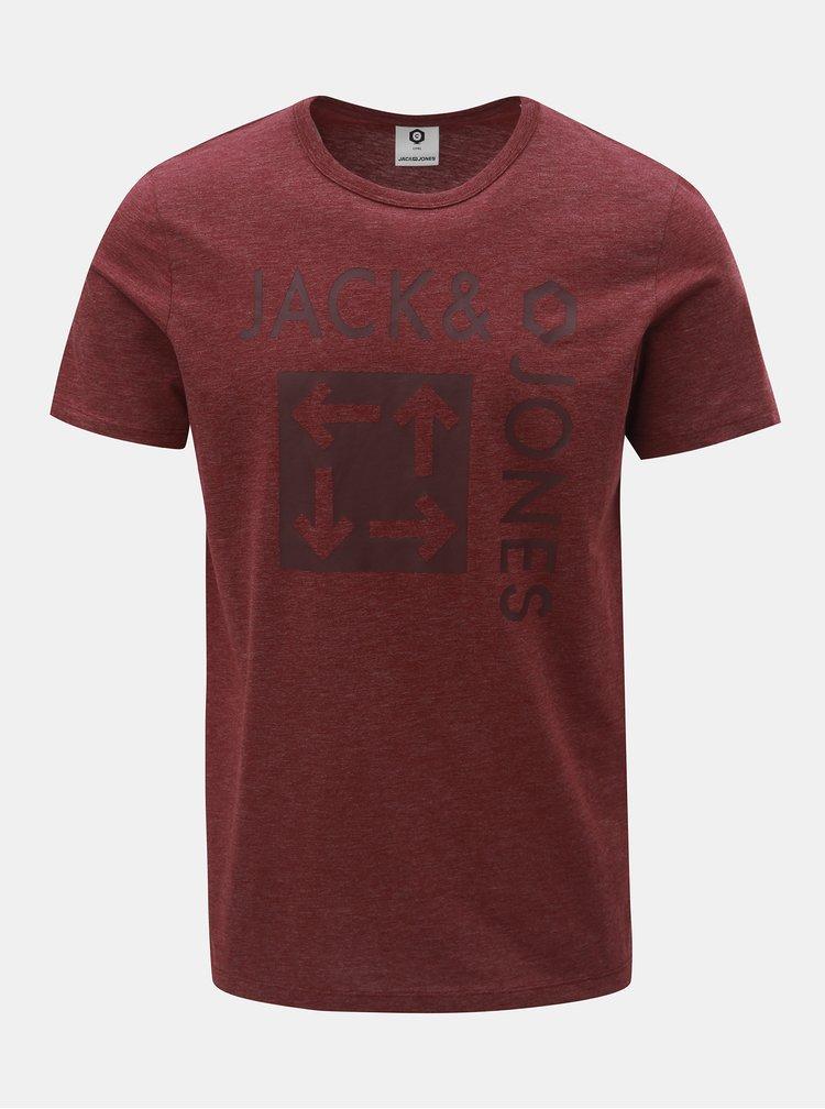 Tricou bordo melanj slim cu imprimeu Jack & Jones Marl