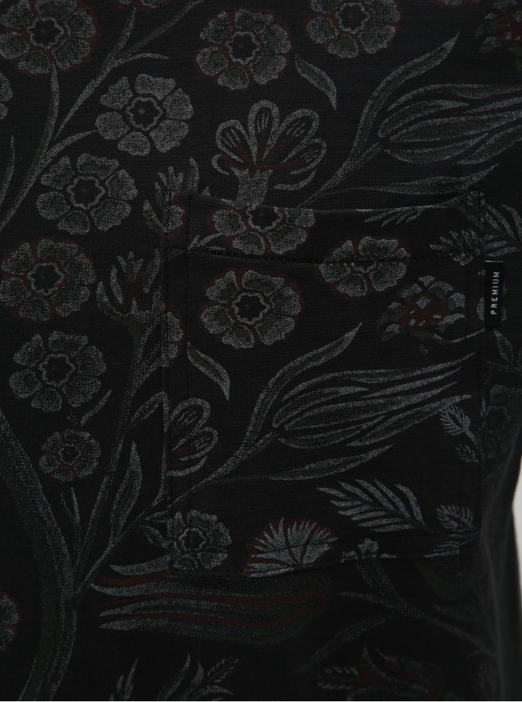 Černé květované slim fit tričko s náprsní kapsou Jack & Jones Terry