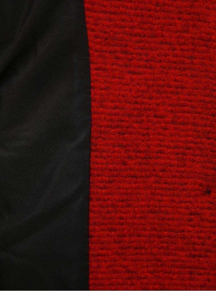 Červený melírovaný vlnený kabát ONLY Beatrice