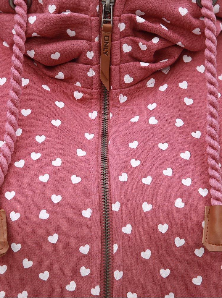 Růžová vzorovaná mikina s kapucí ONLY Signe