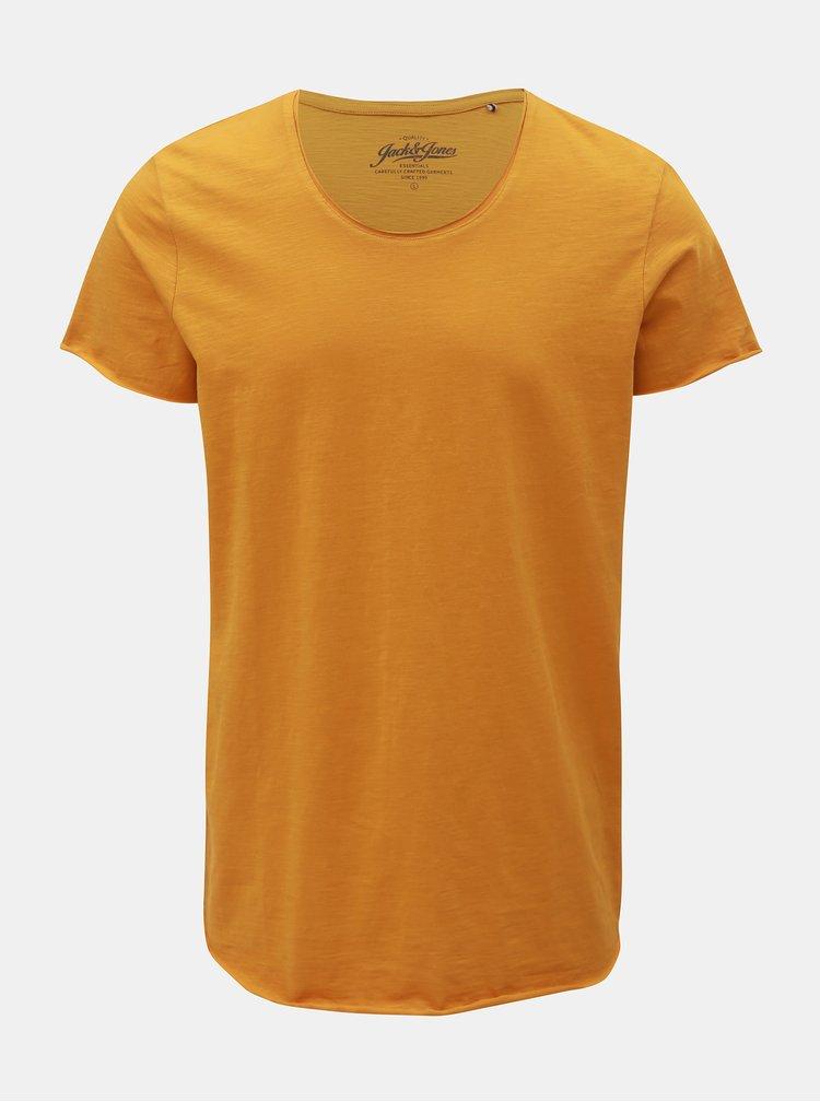 Horčicové basic regular fit tričko Jack & Jones