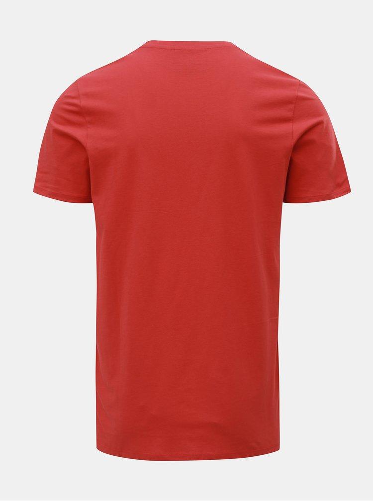 Červené basic tričko s náprsní kapsou Jack & Jones