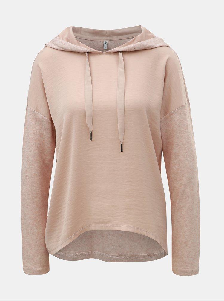 Svetloružový melírovaný tenký sveter s kapucňou ONLY Ashley