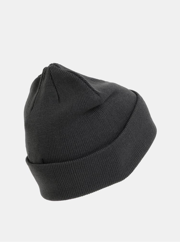 Caciula gri inchis cu logo brodat si amestec de lana Jack & Jones