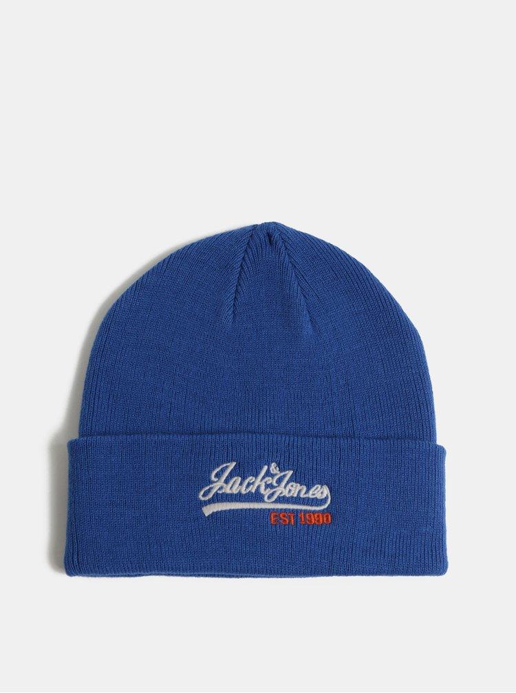 Caciula albastra cu logo brodat si amestec de lana Jack & Jones