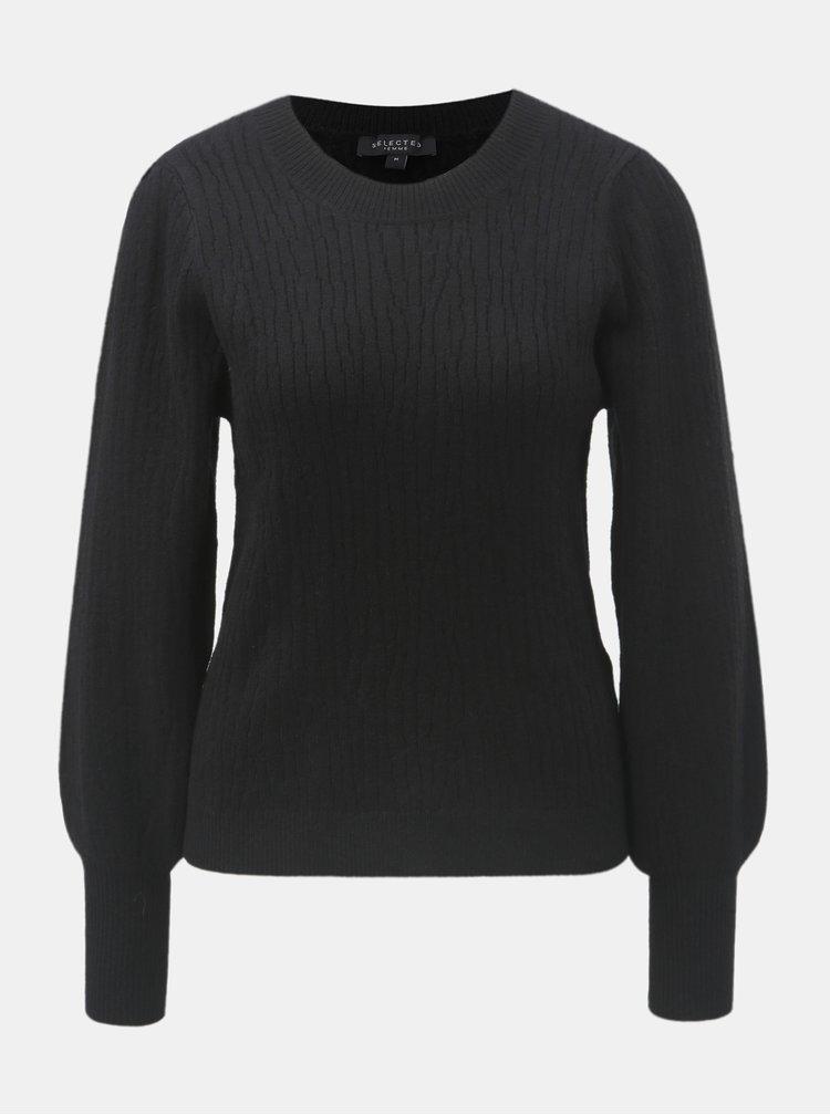 Čierny sveter s balónovými rukávmi Selected Femme Phillipa