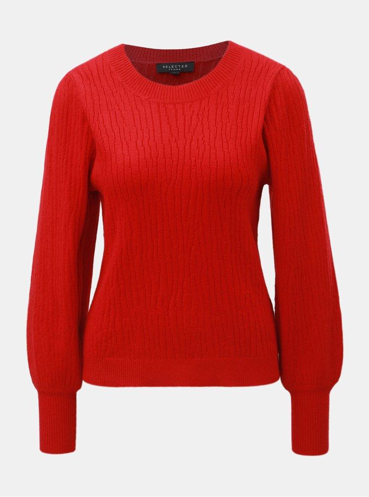 Červený sveter s balónovými rukávmi Selected Femme Phillipa