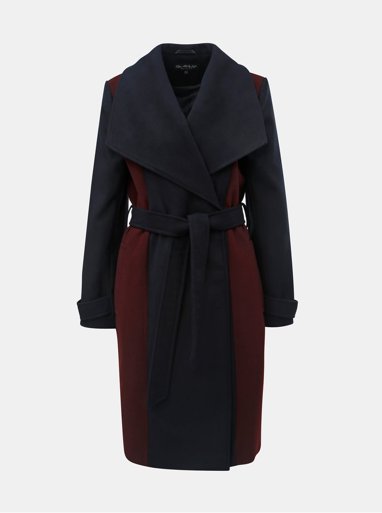 Vínovo-modrý dlouhý kabát Miss Selfridge