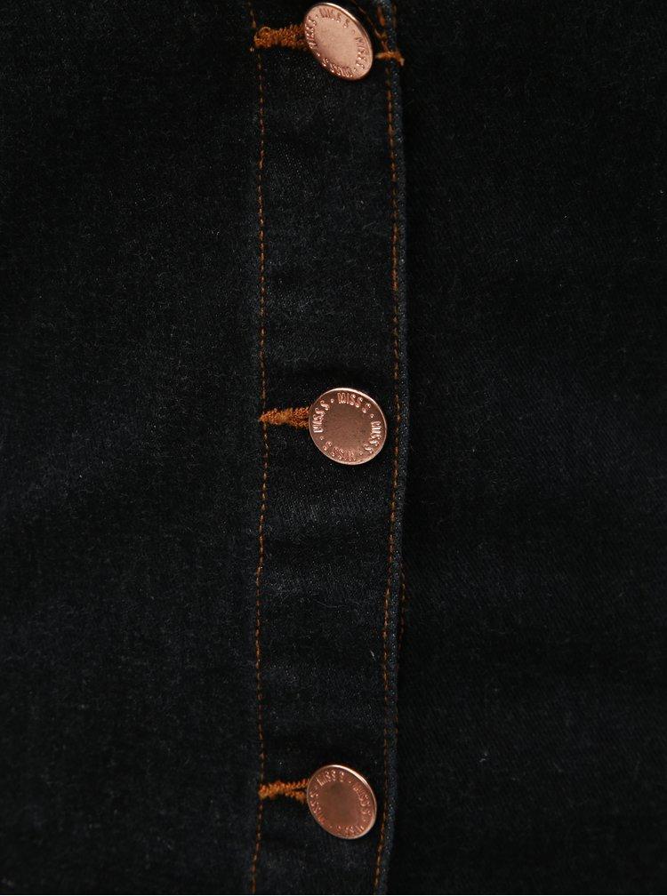 Černé džínové krátké šaty s knoflíky Miss Selfridge