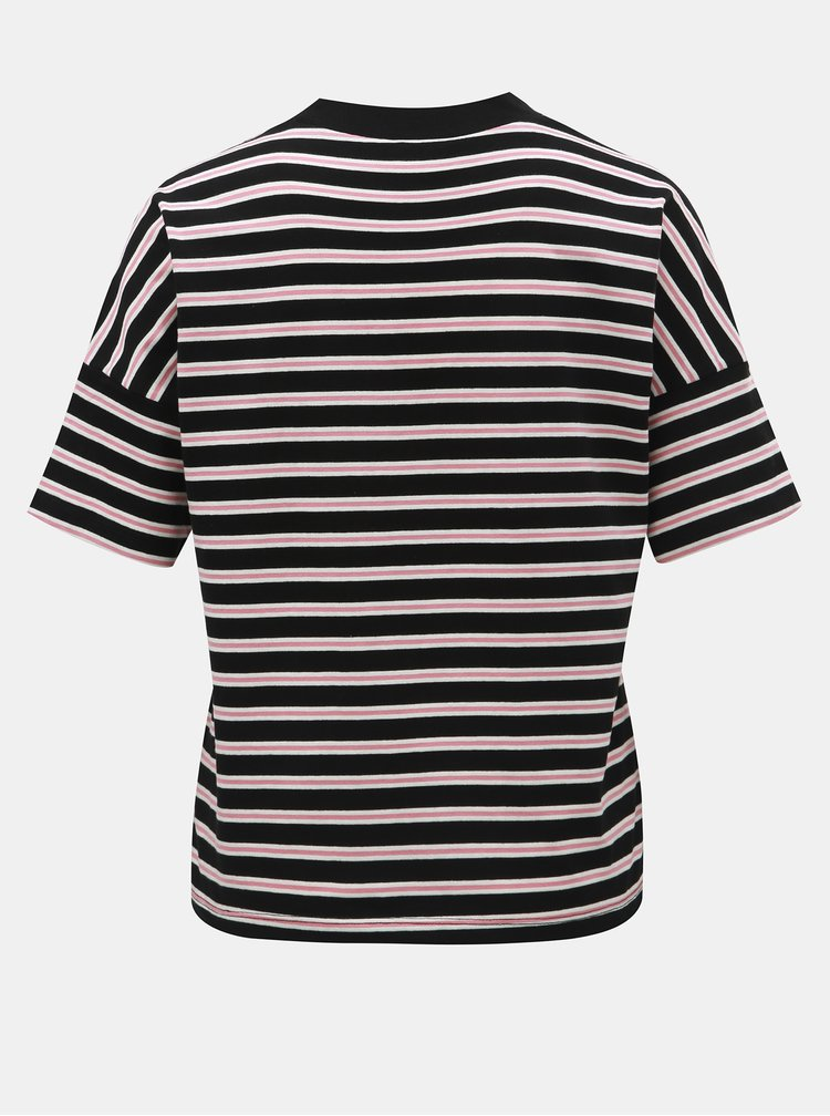 Ružovo–čierne pruhované tričko Jacqueline de Yong Maike