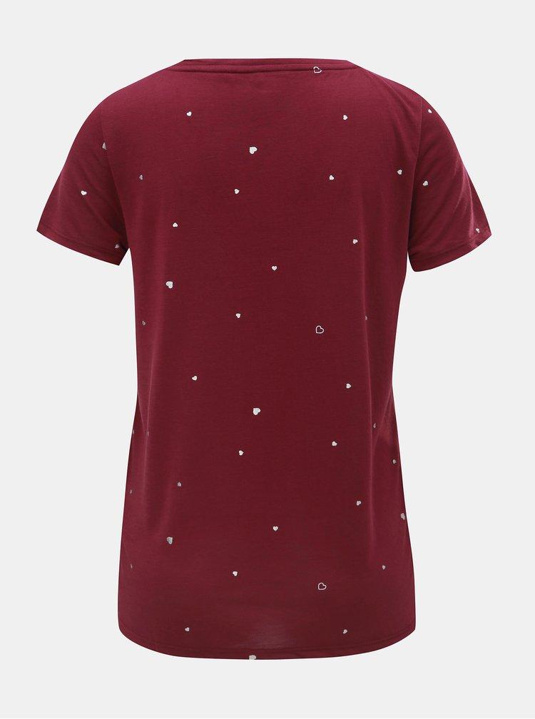 Vínové tričko s potiskem ONLY Sabella