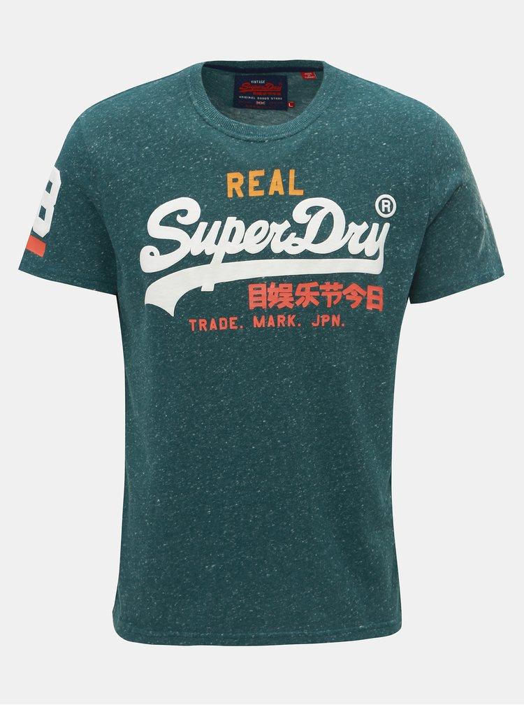 Tricou barbatesc verde melanj cu imprimeu Superdry