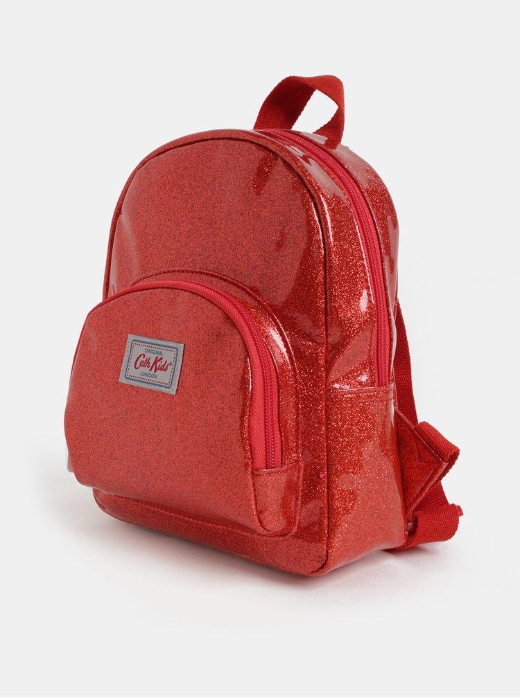Červený dievčenský trblietavý batoh Cath Kidston