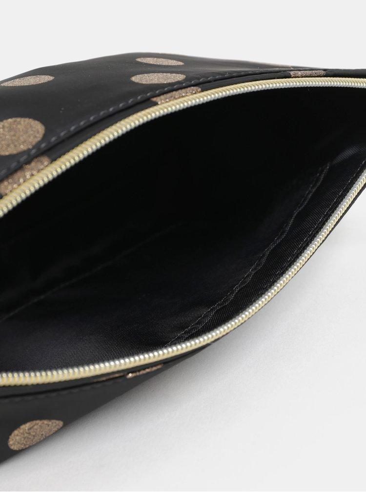 Zlato-černá dámská puntíkovaná kosmetická taštička Cath Kidston