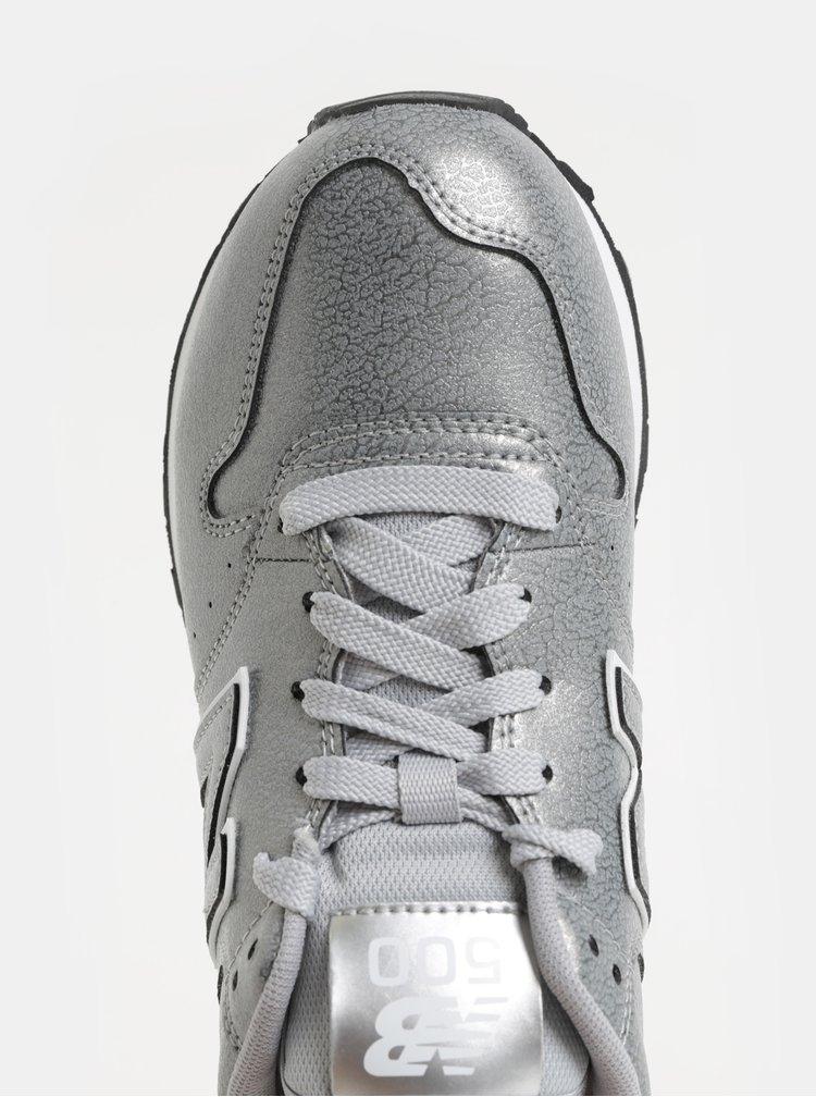 Pantofi sport argintii de dama cu imprimeu pe calcai New Balance 500