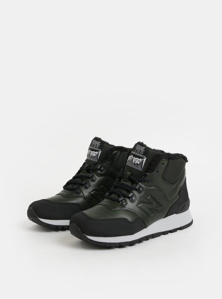 Černo-zelené pánské kožené kotníkové zimní tenisky s umělým kožíškem New Balance 755