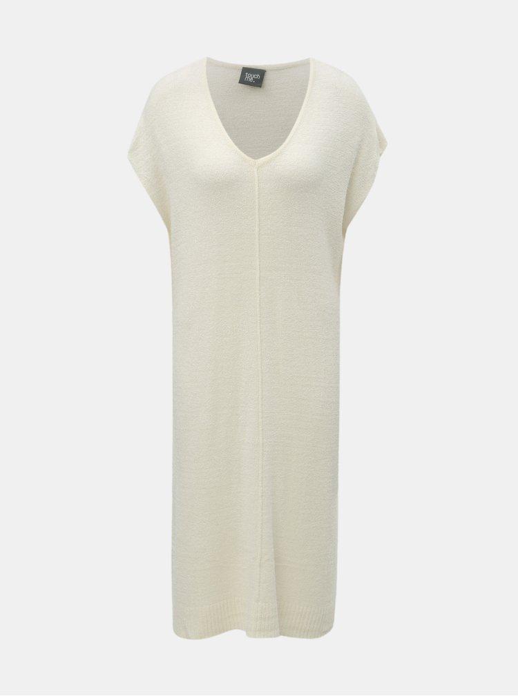 Krémové svetrové šaty se zavazováním touch me.
