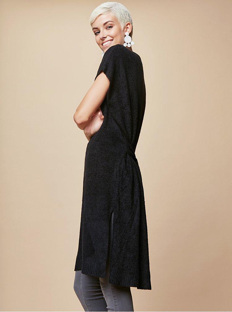 Černé svetrové šaty se zavazováním touch me.