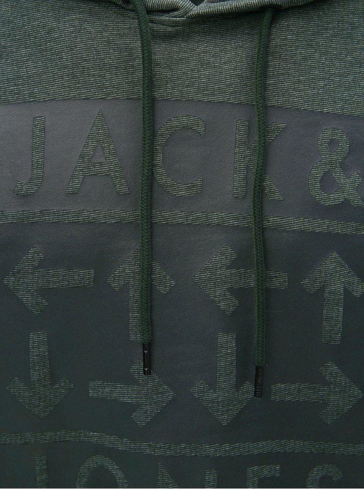 Tmavě zelená žíhaná mikina s potiskem Jack & Jones Marl