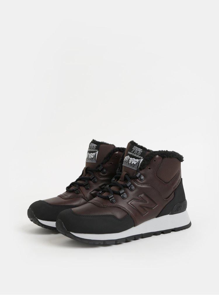 Černo-hnědé pánské kožené kotníkové zimní tenisky s umělým kožíškem New Balance 755