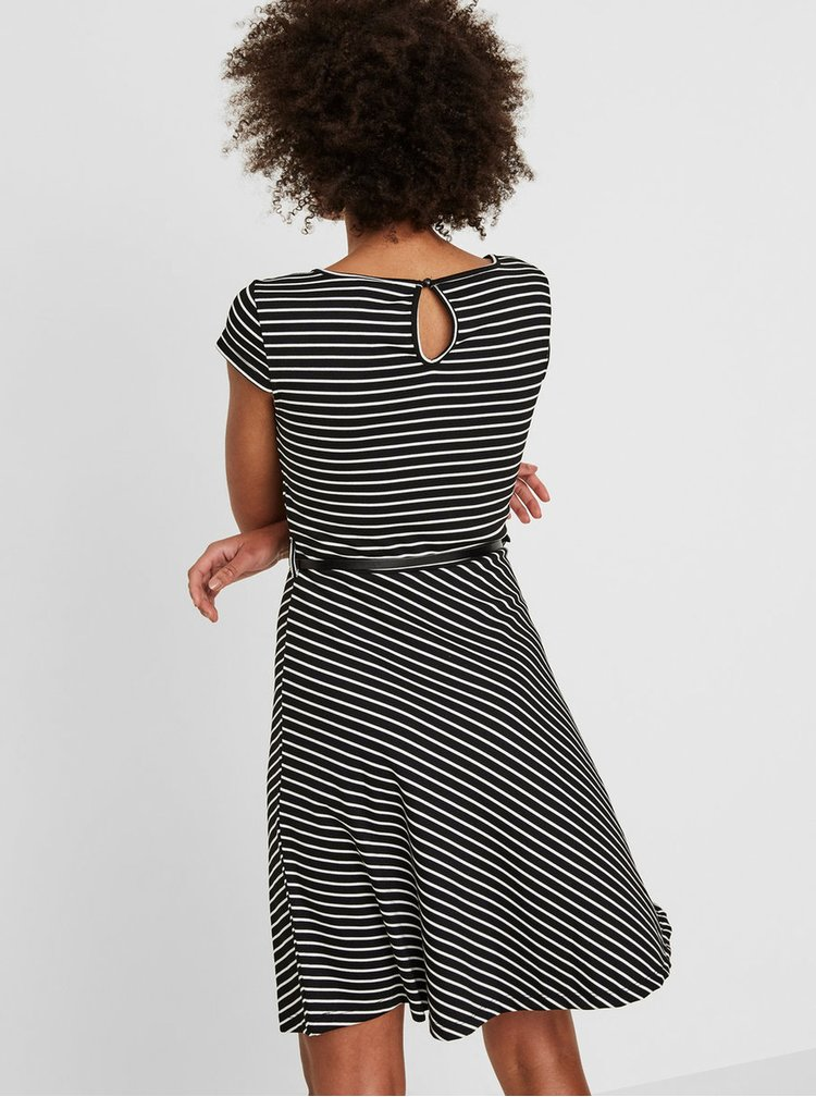 Čierne pruhované šaty s opaskom VERO MODA Vigga