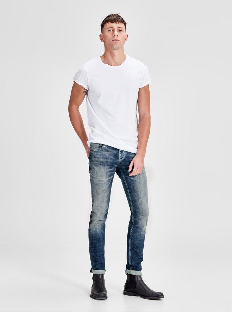 Modré džíny s vyšisovaným efektem Jack & Jones Glenn