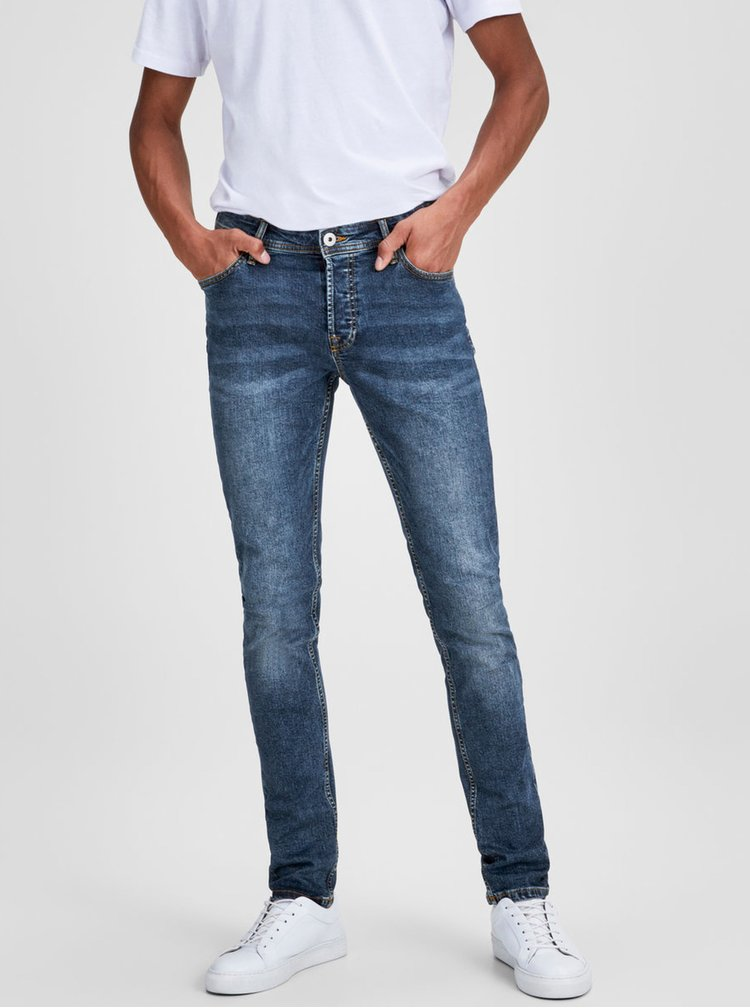 Modré slim džíny s vyšisovaným efektem Jack & Jones Glenn
