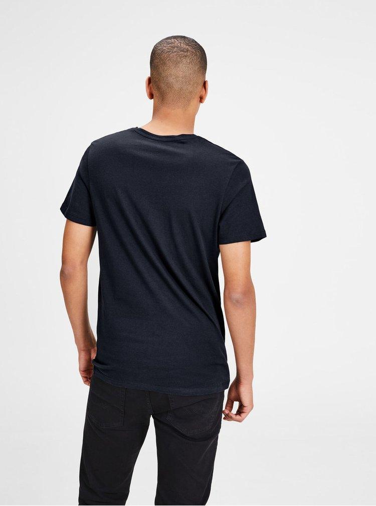 Tricou bleumarin cu print - Jack & Jones New Raffa
