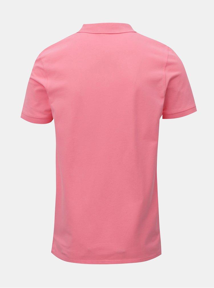 Neónovo–ružová basic polokošeľa s výšivkou Selected Homme Haro