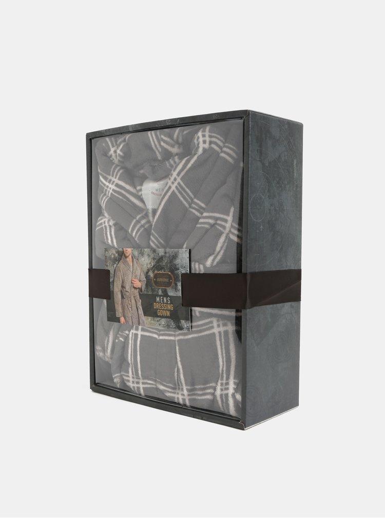 Bílo-šedý kostkovaný župan v dárkové krabičce Portland