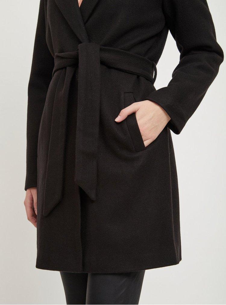 Čierny kabát s prímesou vlny VILA