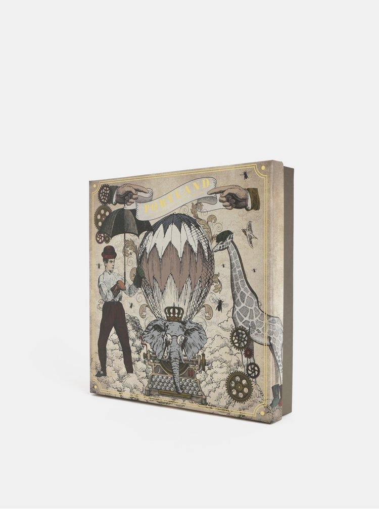 Fular gri-maro tartan in cutie cadou Portland