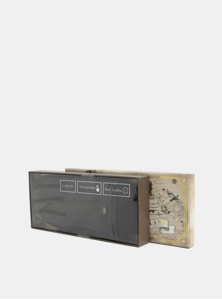 Manusi pentru smartphone negre cu partea superioara din piele in cutie cadou Portland