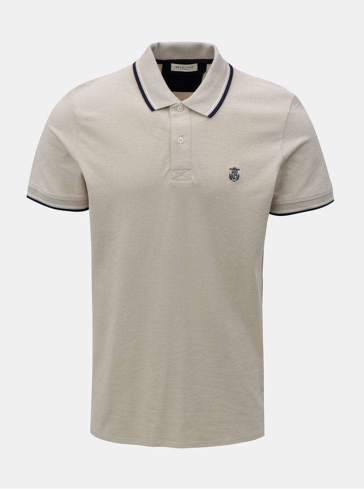 Tricou polo bej Selected Homme Season