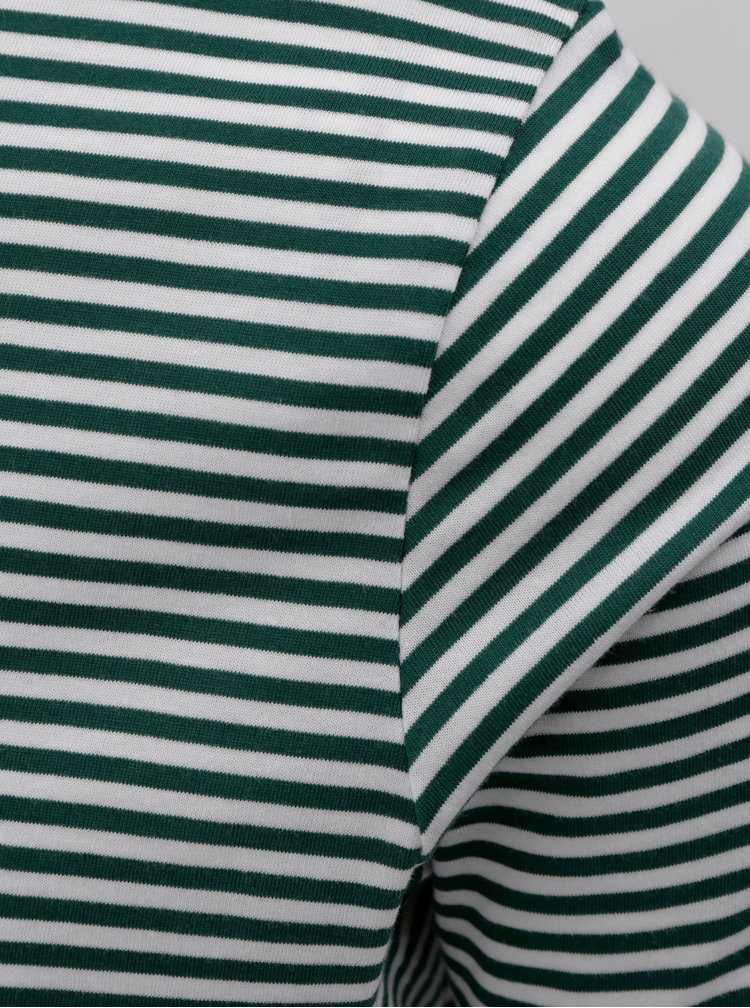 Tricou alb-verde in dungi cu maneci scurte Selected Homme Perfect