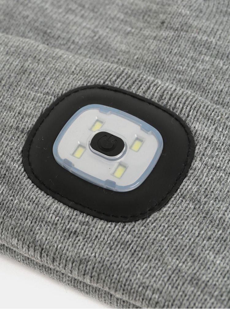 Šedá žíhaná unisex čepice s odnímatelnou baterkou Portland