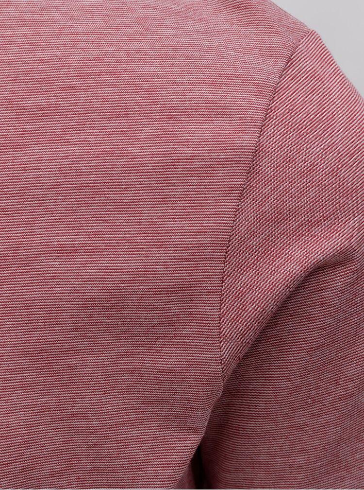 Červené žíhané basic tričko Selected Homme Perfect