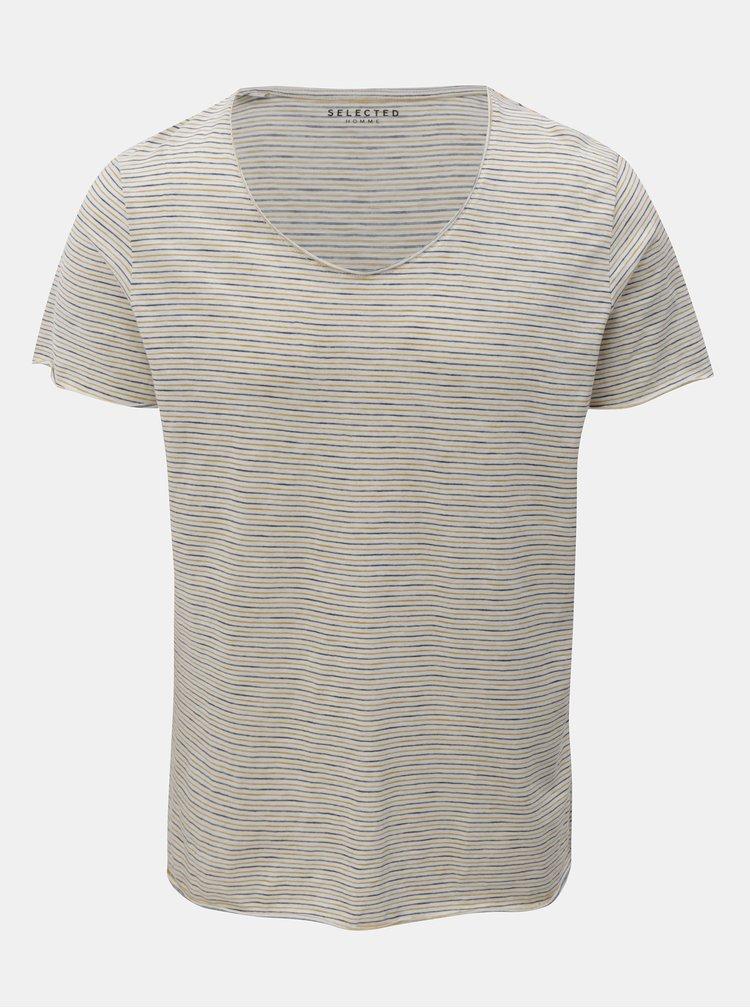 Žluto-krémové pruhované basic tričko Selected Homme Merce