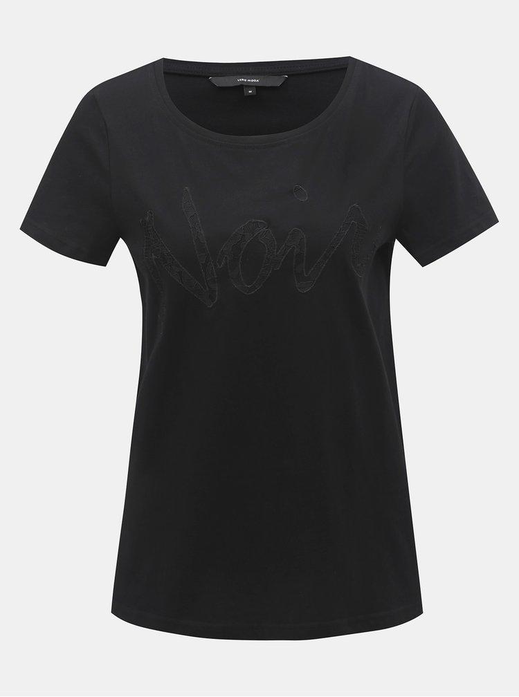 Tricou negru cu petic din dantela VERO MODA Loving