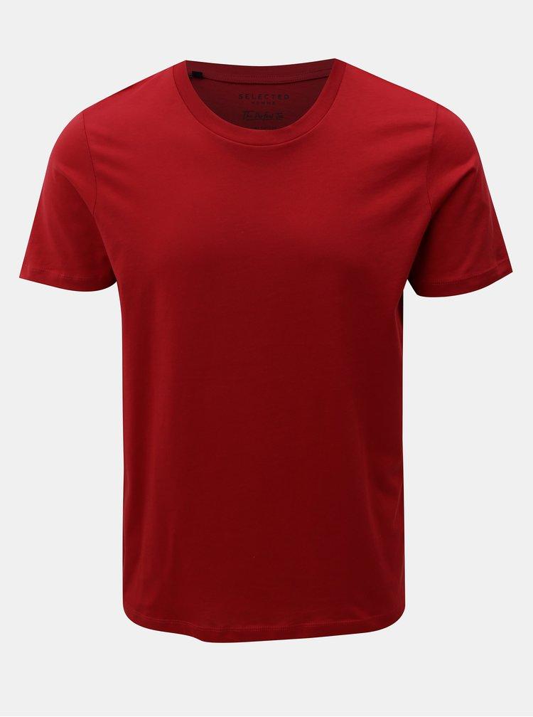 Červené basic tričko s krátkým rukávem Selected Homme Perfect