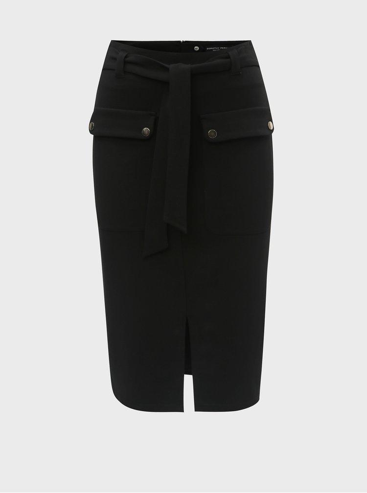 Čierna puzdrová sukňa s vreckami Dorothy Perkins